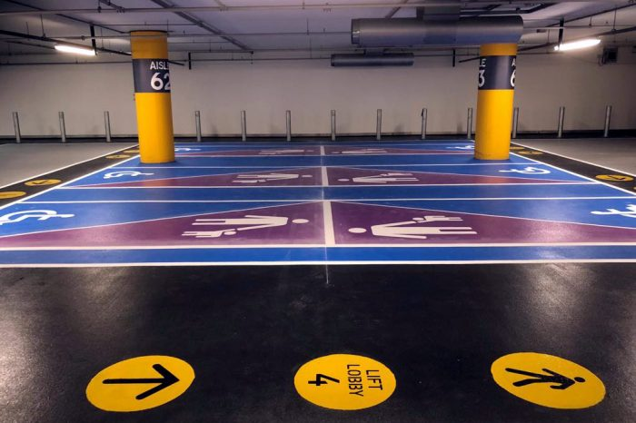 Parking bays marked as disabled or for parents with young children
