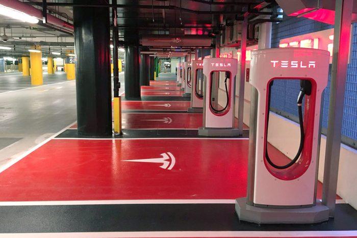 Tesla charging bays at White City London