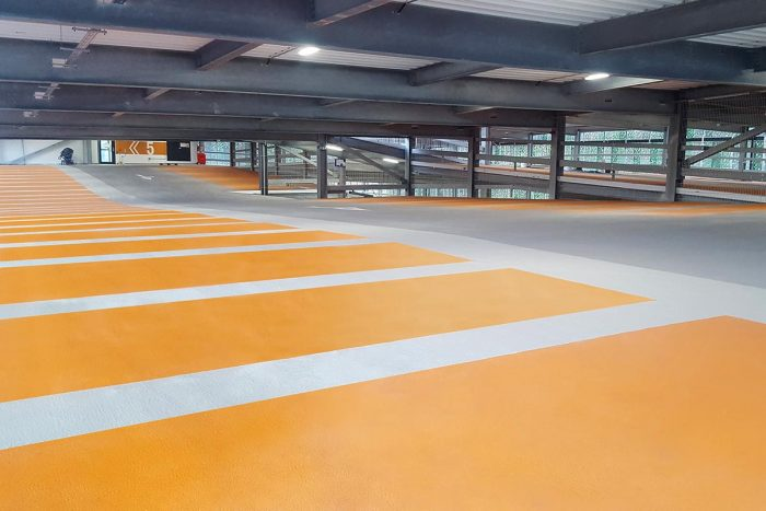 Orange intermediate car park deck