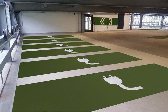 Intermediate EV car park deck of Brighton University